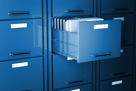 file cabinet 3d blue tone office image Stock Photo - 7168405
