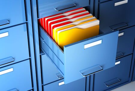 organized: file cabinet 3d  and colorful  folder closeup image