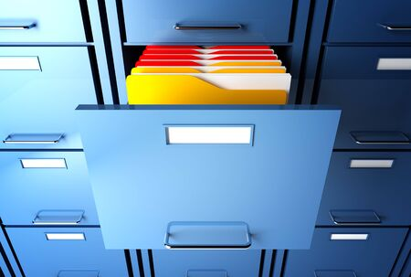file cabinet 3d  and colorful  folder closeup image Stock Photo - 7168333
