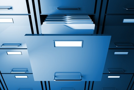 file cabinet 3d blue tone office image Stock Photo - 7168334