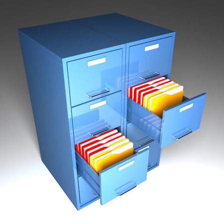 file cabinet 3d  and colorful  folder closeup image photo