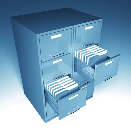 file and folder cabinet 3d business illustration Stock Illustration - 7168369