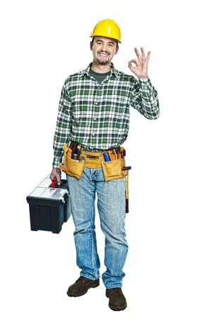 repairman: standing handyman with toolbox smile  isolated on white Stock Photo