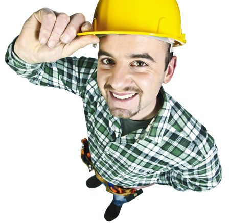 happy funny young handyman isolated on white background photo