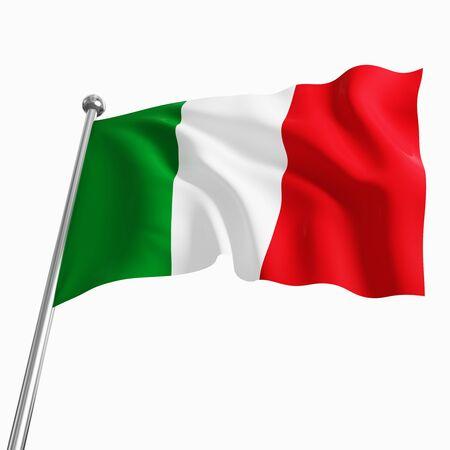 italien flagge: 3D italienische Fahne isoliert auf wei�em Hintergrund  Lizenzfreie Bilder