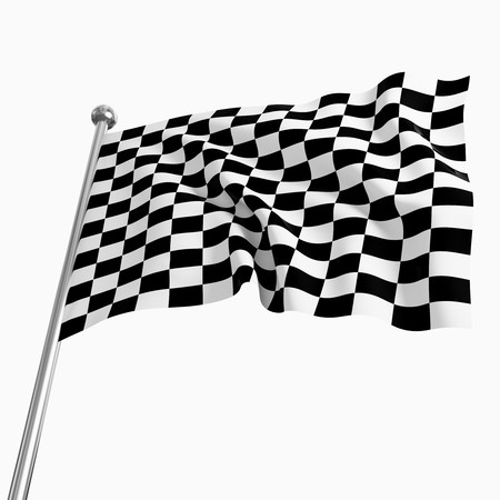 3d image of classic start flag on white background photo