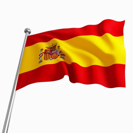 european culture: 3d image of spain flag isolated on white
