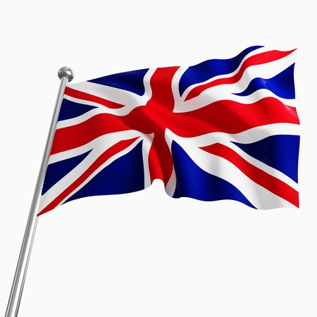 european flag: uk 3d flag on white background Stock Photo