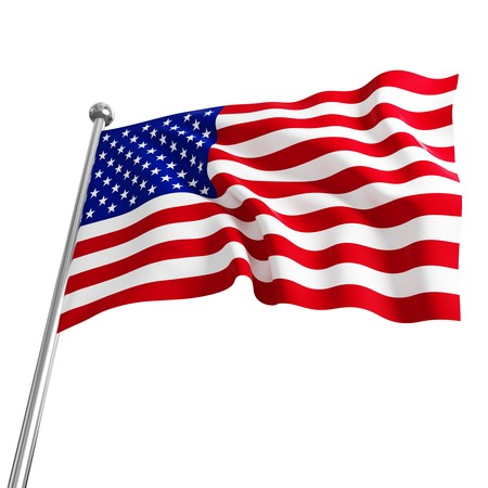 american usa 3d flag on white background Stock Photo - 7238071