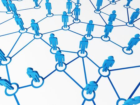 3d image of blue virtual people, connect on white background Stock Photo - 7238080