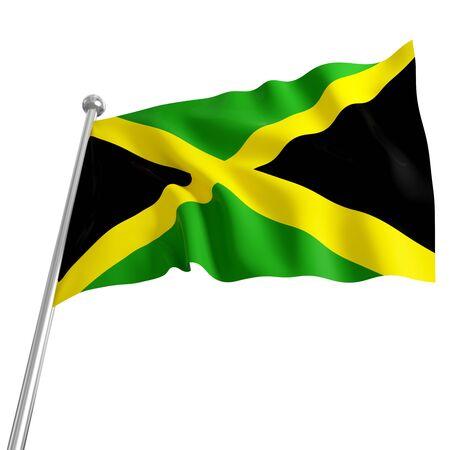 3d model of jamaica flag on white background photo