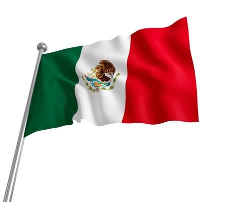 bandera de mexico: bandera mexicana 3D sobre fondo blanco
