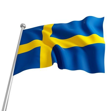 schweden flagge: 3D Modell Schweden Flagge auf wei�em Hintergrund