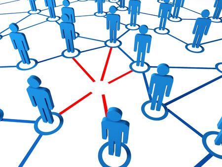 broken link: global 3d connection with blue models and broken red link