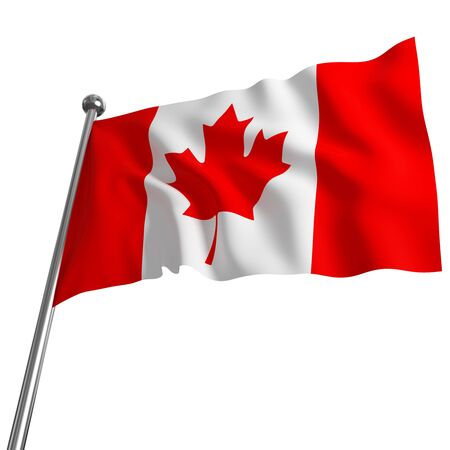 canadian flag: 3d flag of canada on white background