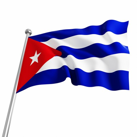 3d flag of cuba on white background photo