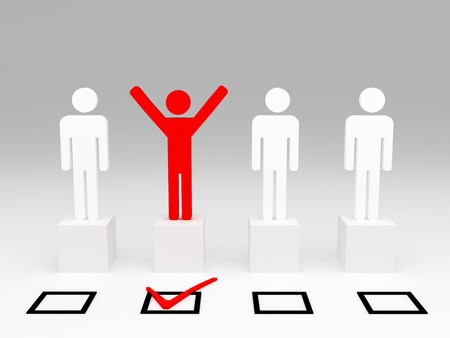 choose person: red happy man hand up after selection