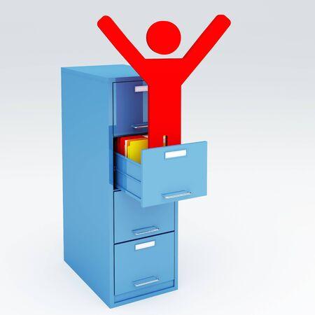happy man in a 3d  cabinet file folder photo