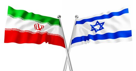 3d flag of israel and iran  on white background Stock Photo - 7318036