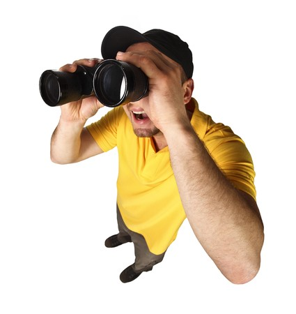 funny man with binoculars isolated on white background photo