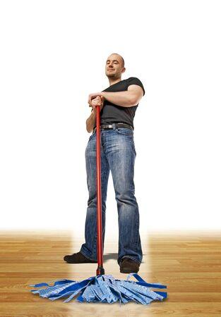 Jonge cleaner op hout 3d parket achtergrond Stockfoto - 7323430