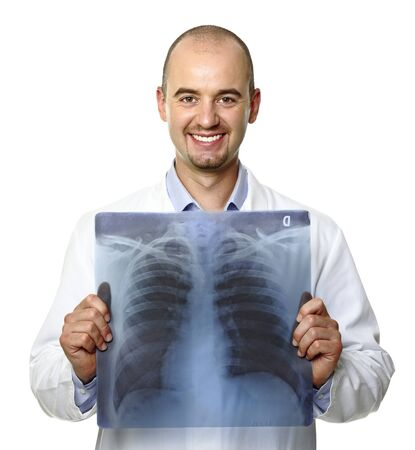 young caucasian smiling doctor and torso xray photo