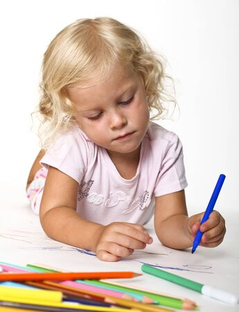 fine portrait of blonde kid drawing Stock Photo - 7484182