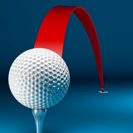 path to success: 3d golf ball background and red path to success