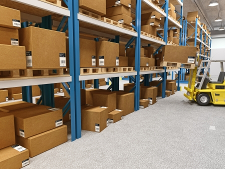 fine 3d image of classic warehouse and forklift in action photo