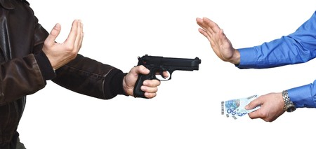 armed robbery backgound, casual man and businessman on white Stock Photo - 7555166