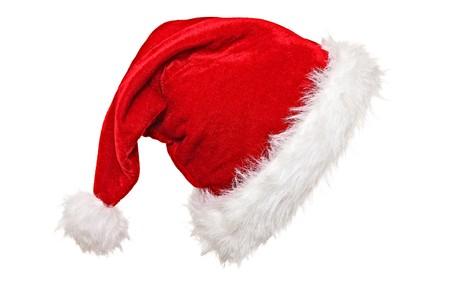 cappello natale: cappello di Babbo Natale tradizionale su sfondo bianco