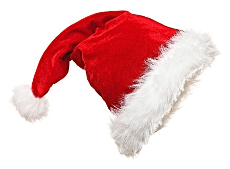 cloth cap: traditional santa claus hat on white background Stock Photo