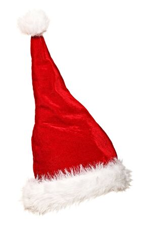 traditional santa claus hat on white background Stock Photo