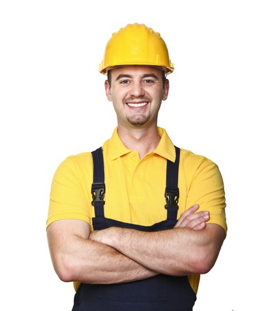 smiling manual worker isolated on white background photo