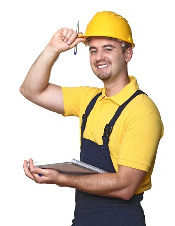 craftman: smiling handyman with notebook isolated on white background Stock Photo