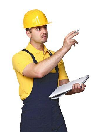 dovere: lavoratore manuale sul dovere isolato su sfondo bianco