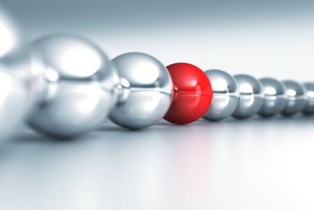 fine 3d rendering of red and gray balls with dof