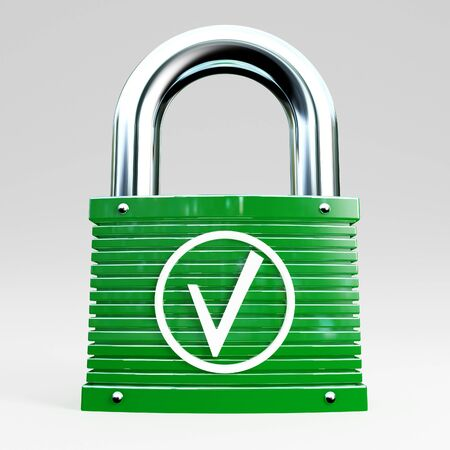 3d green padlock icon of safe connection Stock Photo - 7814300