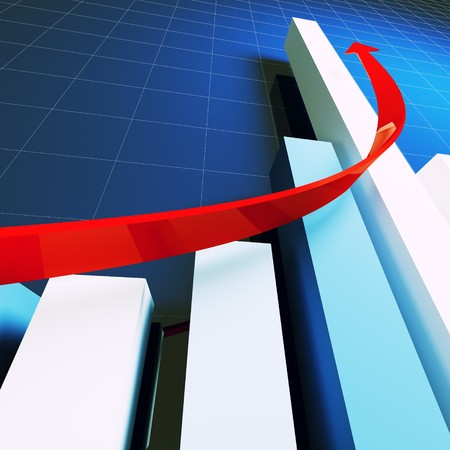 financial business stat and red arrow 3d photo