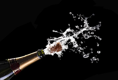 classic champagne bottle with popping cork background Stock Photo - 7910004