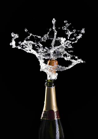 classic champagne bottle with popping cork background Stock Photo - 7910005