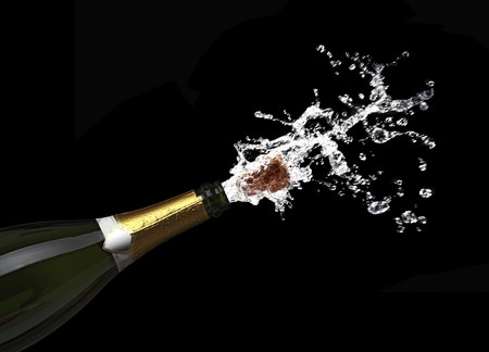 classic champagne bottle with popping cork background photo