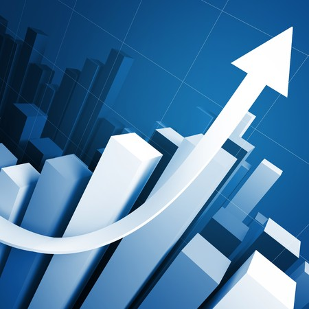 sales graph: business growing stat and red arrow 3d background Stock Photo