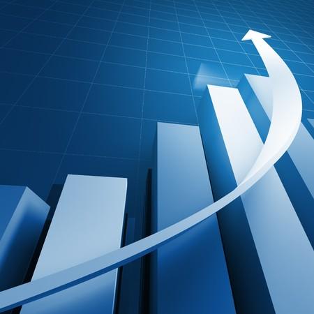 verhogen: 3D financiële grafiek stat zakelijke achtergrond Stockfoto