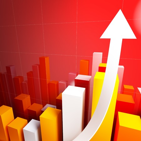 3d stat with growing arrow business background photo