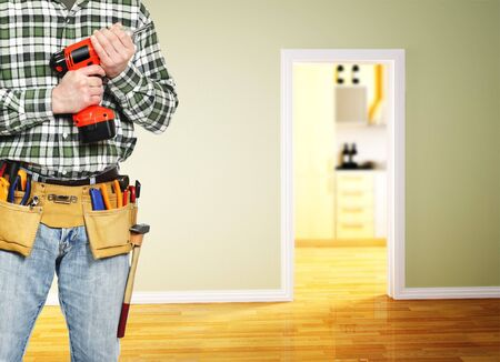 handyman: man ready for home work in 3d indoor Stock Photo