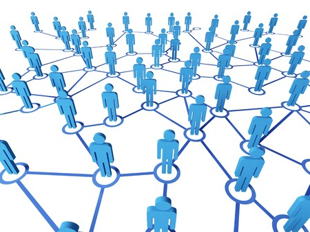 3d blue people on virtual web connectione white background Stock Photo - 7910714