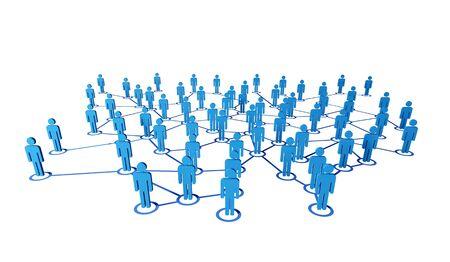 3D blue mensen op virtuele web connectione witte achtergrond Stockfoto