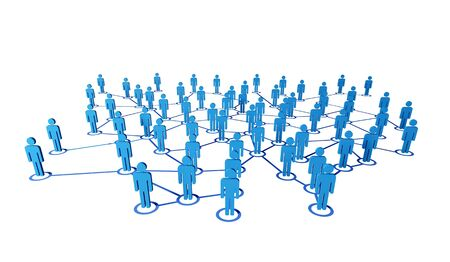 communication metaphor: 3d blue people on virtual web connectione white background Stock Photo