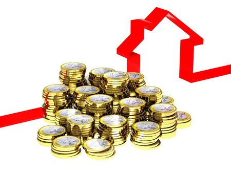 euro con and 3d ribbon red house on white Stock Photo - 7985016